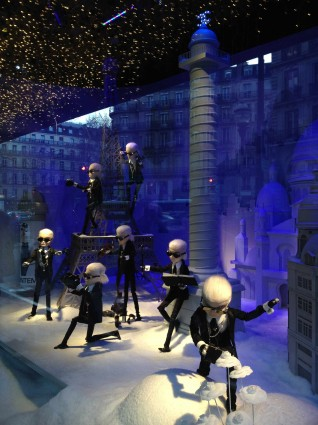 Karl Lagerfeld at Printemps Paris window display