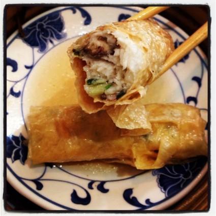 Steamed Chicken rolls in a soya wrap