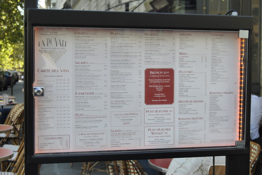 Menu at La Royale Paris