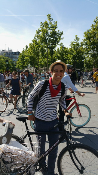 french stripe shirt vintage bicycle ride paris 2015
