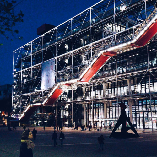 centre pompidou at night street photo